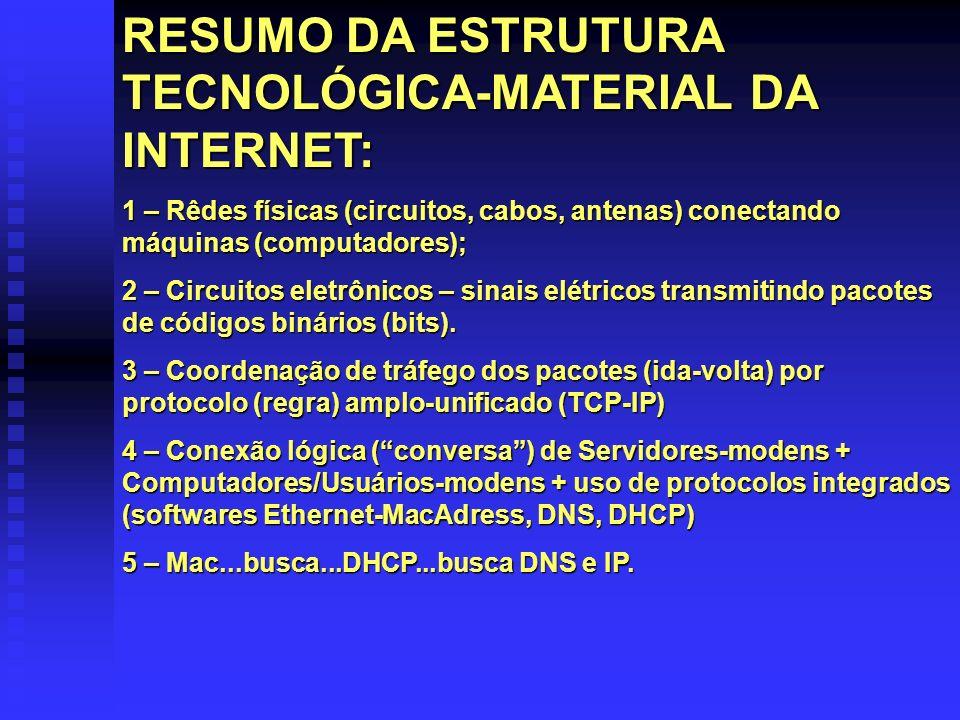 RESUMO DA ESTRUTURA TECNOLÓGICA-MATERIAL DA INTERNET: