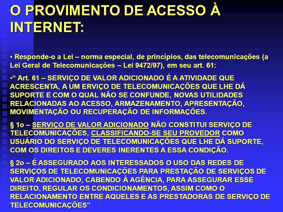 O PROVIMENTO DE ACESSO À INTERNET: