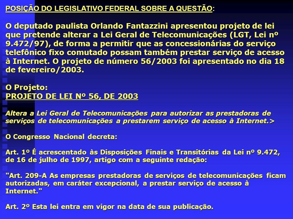 POSIÇÃO DO LEGISLATIVO FEDERAL SOBRE A QUESTÃO: