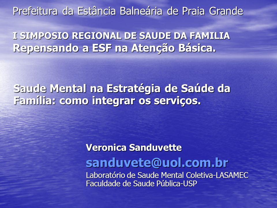 Prefeitura da Estância Balneária de Praia Grande I SIMPOSIO REGIONAL DE SAUDE DA FAMILIA Repensando a ESF na Atenção Básica.
