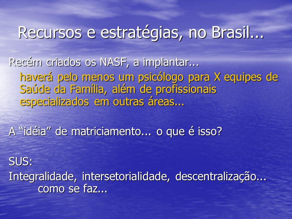 Recursos e estratégias, no Brasil...