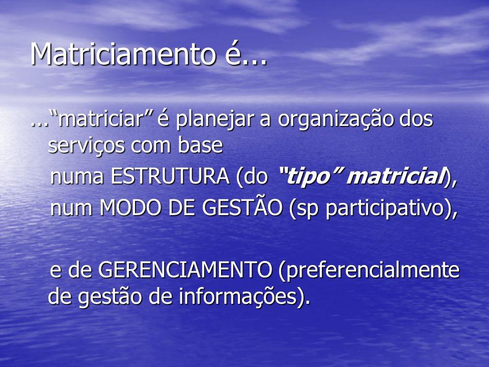 Matriciamento é... ... matriciar é planejar a organização dos serviços com base. numa ESTRUTURA (do tipo matricial),