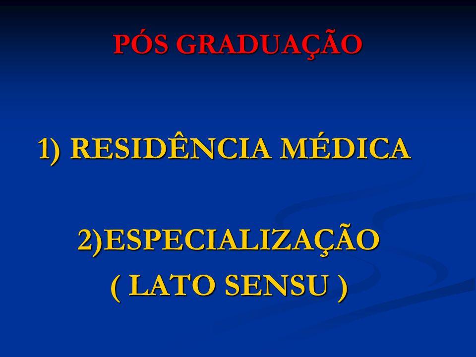 PÓS GRADUAÇÃO 1) RESIDÊNCIA MÉDICA 2)ESPECIALIZAÇÃO ( LATO SENSU )