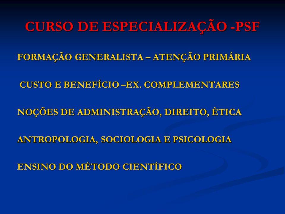 CURSO DE ESPECIALIZAÇÃO -PSF