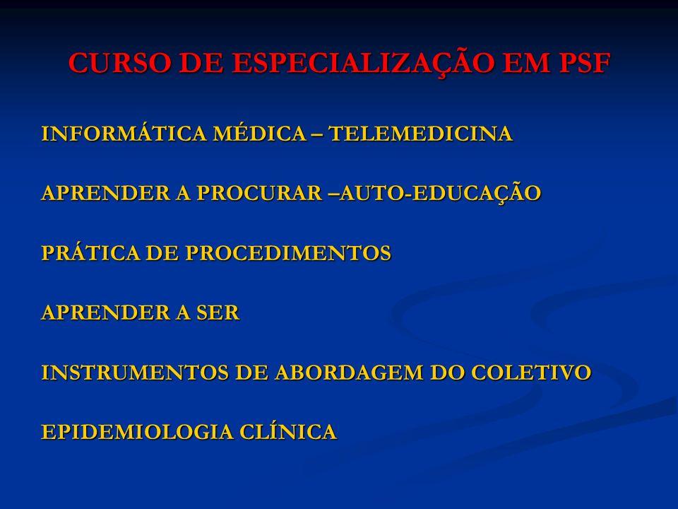 CURSO DE ESPECIALIZAÇÃO EM PSF