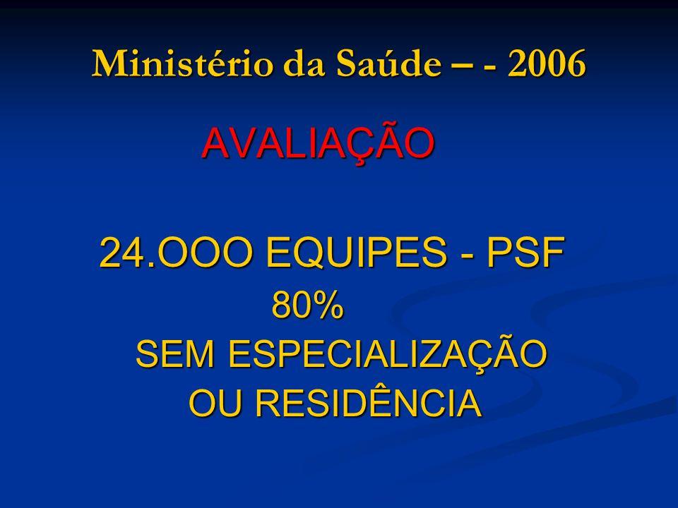 Ministério da Saúde – - 2006 24.OOO EQUIPES - PSF 80%
