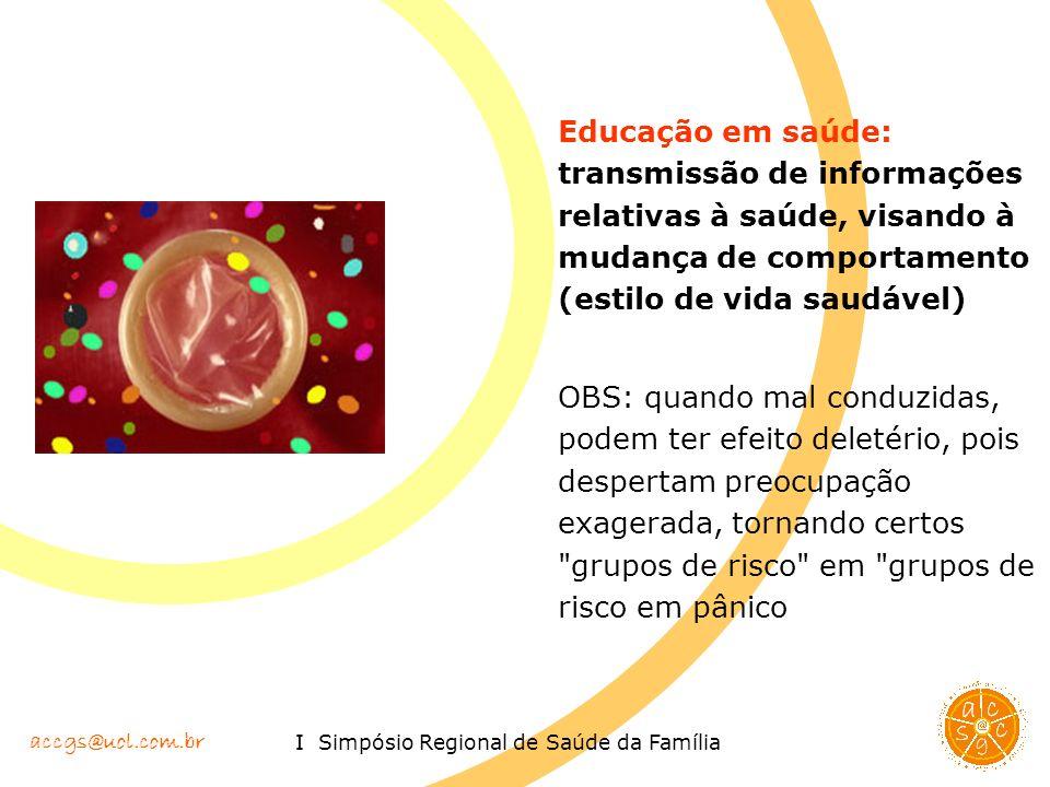 Educação em saúde: transmissão de informações relativas à saúde, visando à mudança de comportamento (estilo de vida saudável)
