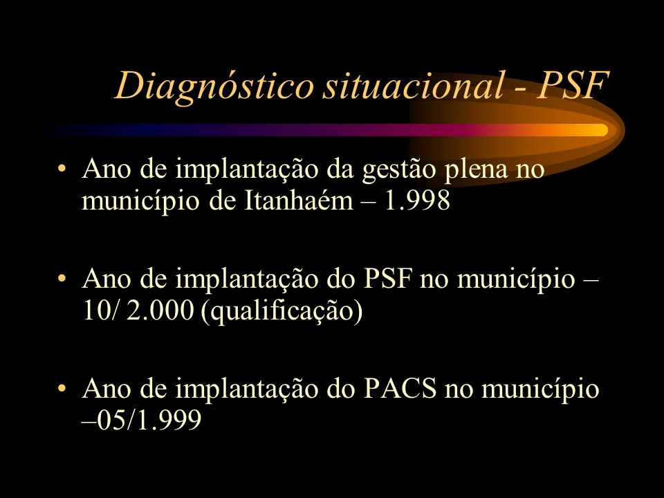 Diagnóstico situacional - PSF