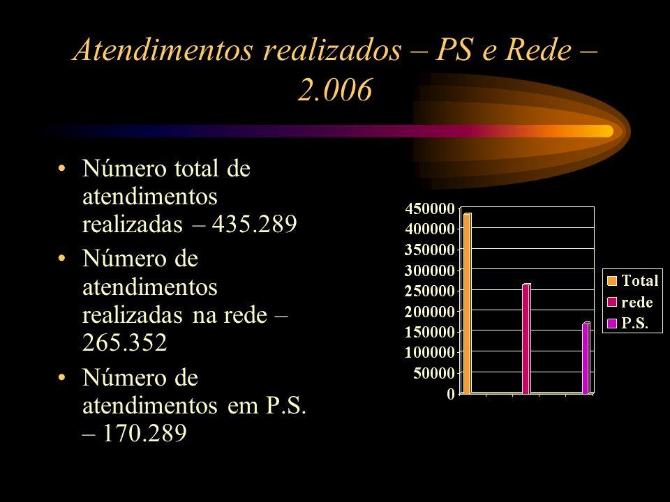 Atendimentos realizados – PS e Rede – 2.006