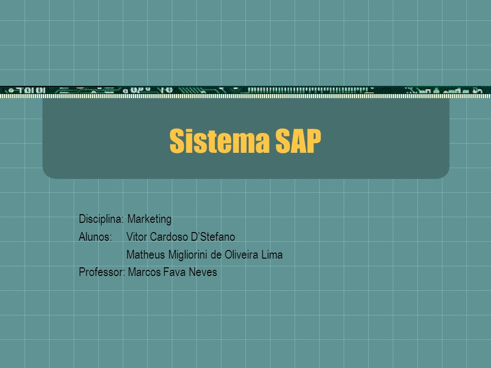 Sistema SAP Disciplina: Marketing Alunos: Vitor Cardoso D'Stefano