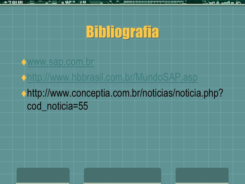 Bibliografia www.sap.com.br http://www.hbbrasil.com.br/MundoSAP.asp