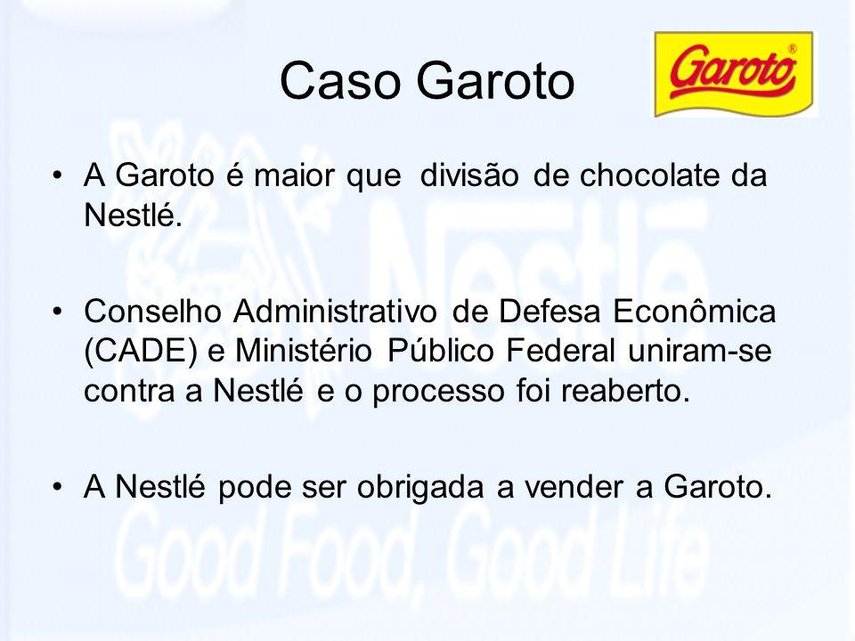 Caso Garoto A Garoto é maior que divisão de chocolate da Nestlé.