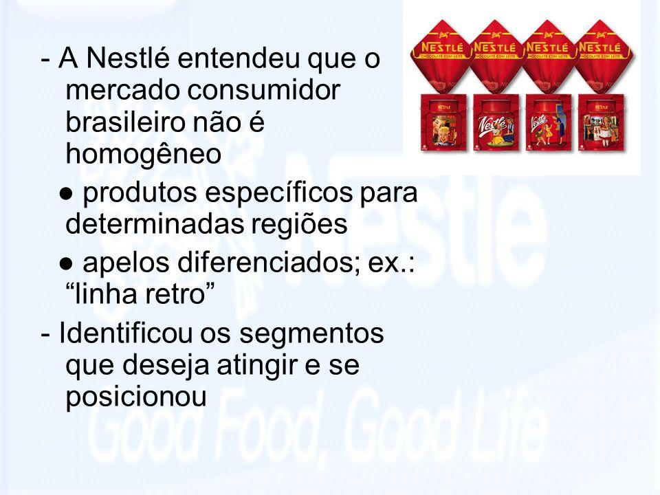 - A Nestlé entendeu que o mercado consumidor brasileiro não é homogêneo
