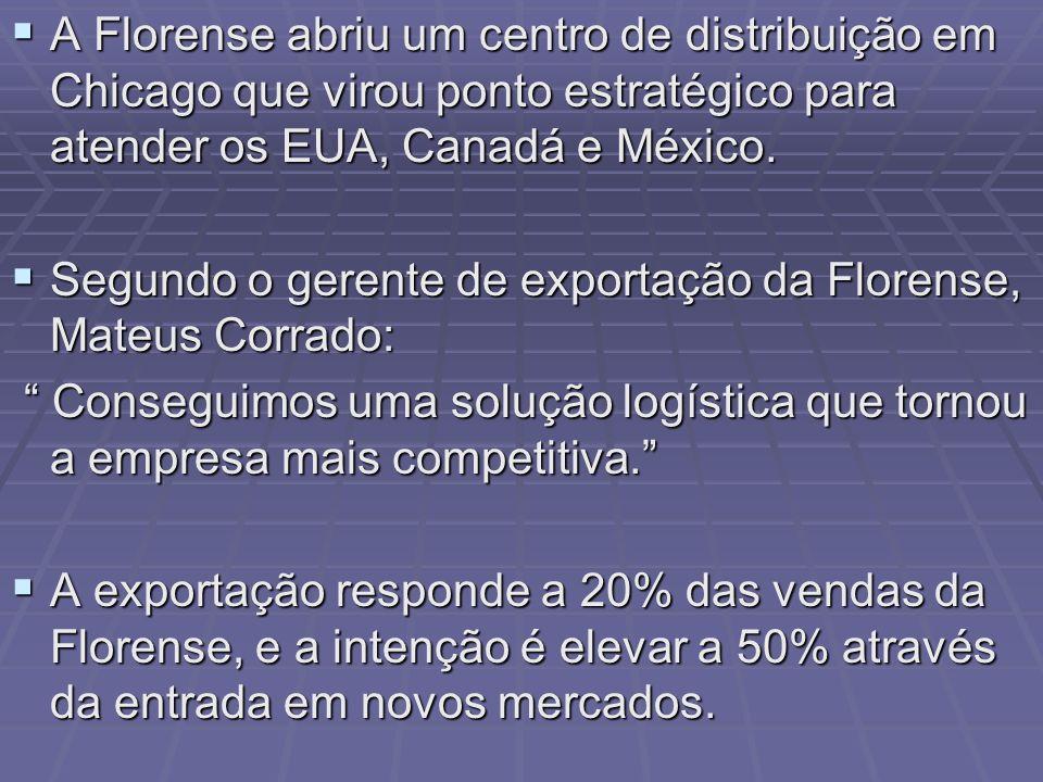 A Florense abriu um centro de distribuição em Chicago que virou ponto estratégico para atender os EUA, Canadá e México.