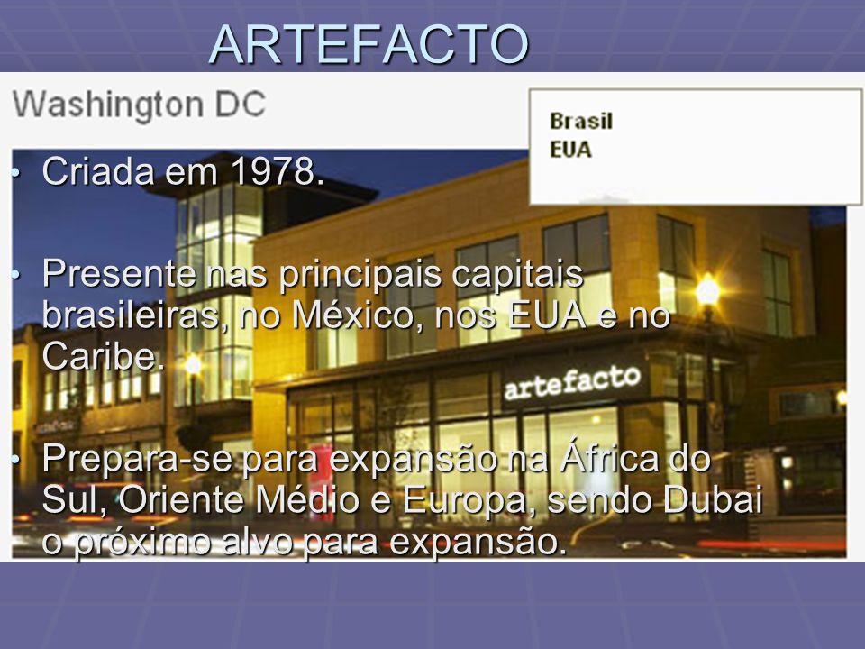 ARTEFACTO Criada em 1978. Presente nas principais capitais brasileiras, no México, nos EUA e no Caribe.