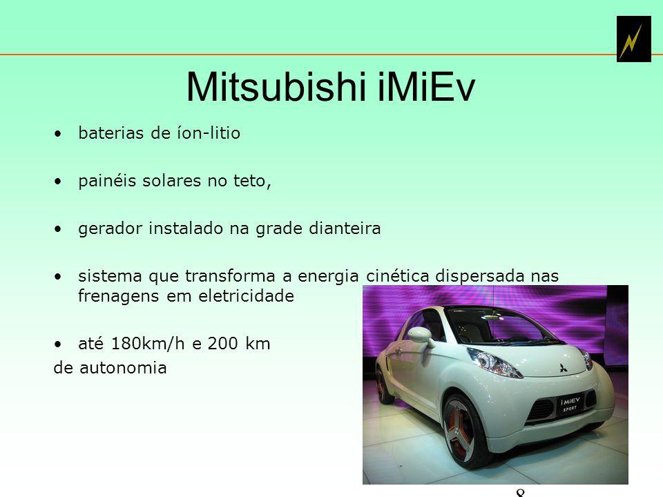 Mitsubishi iMiEv baterias de íon-litio painéis solares no teto,