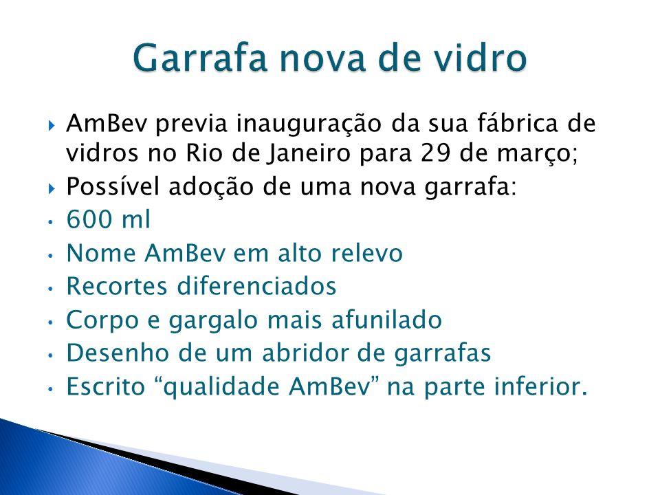 Garrafa nova de vidro AmBev previa inauguração da sua fábrica de vidros no Rio de Janeiro para 29 de março;
