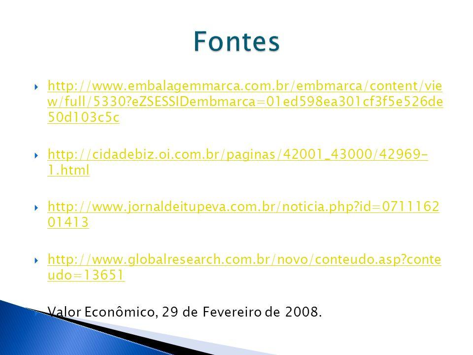 Fontes http://www.embalagemmarca.com.br/embmarca/content/vie w/full/5330 eZSESSIDembmarca=01ed598ea301cf3f5e526de 50d103c5c.