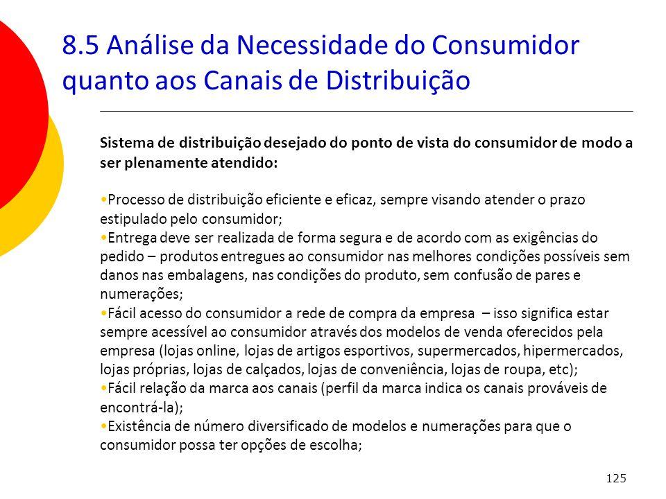 8.5 Análise da Necessidade do Consumidor quanto aos Canais de Distribuição