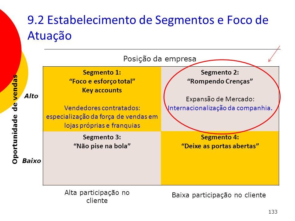 9.2 Estabelecimento de Segmentos e Foco de Atuação