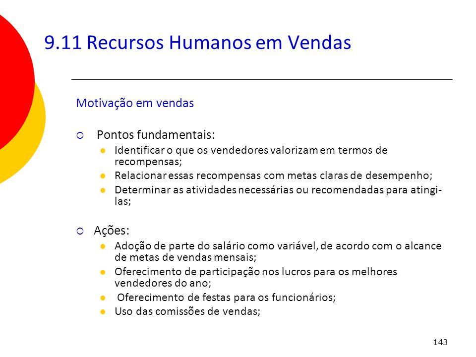 9.11 Recursos Humanos em Vendas
