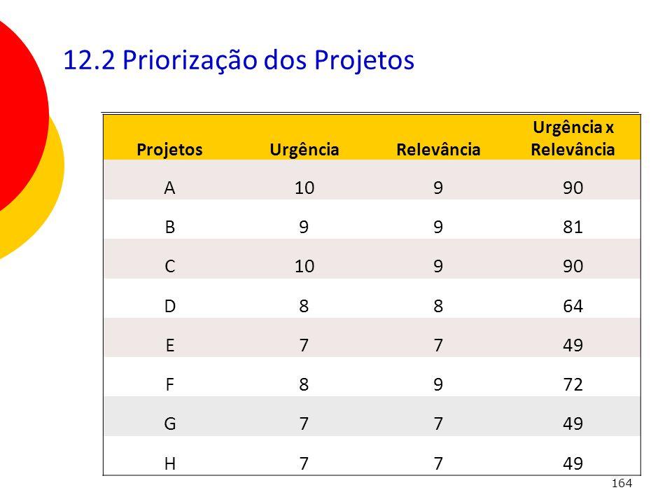 12.2 Priorização dos Projetos