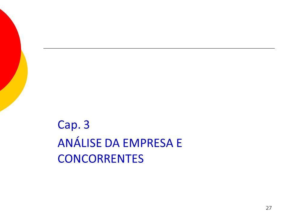 Cap. 3 ANÁLISE DA EMPRESA E CONCORRENTES