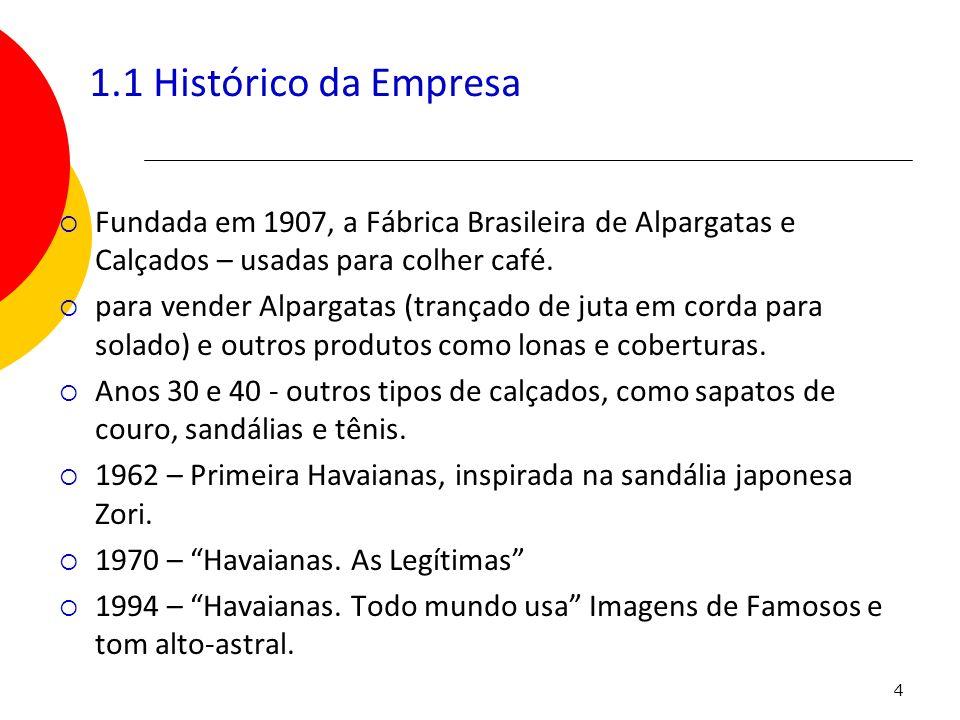 1.1 Histórico da Empresa Fundada em 1907, a Fábrica Brasileira de Alpargatas e Calçados – usadas para colher café.