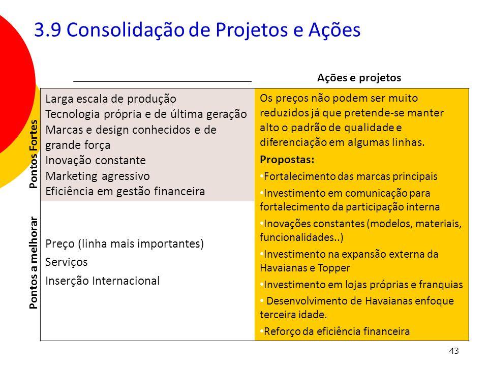 3.9 Consolidação de Projetos e Ações