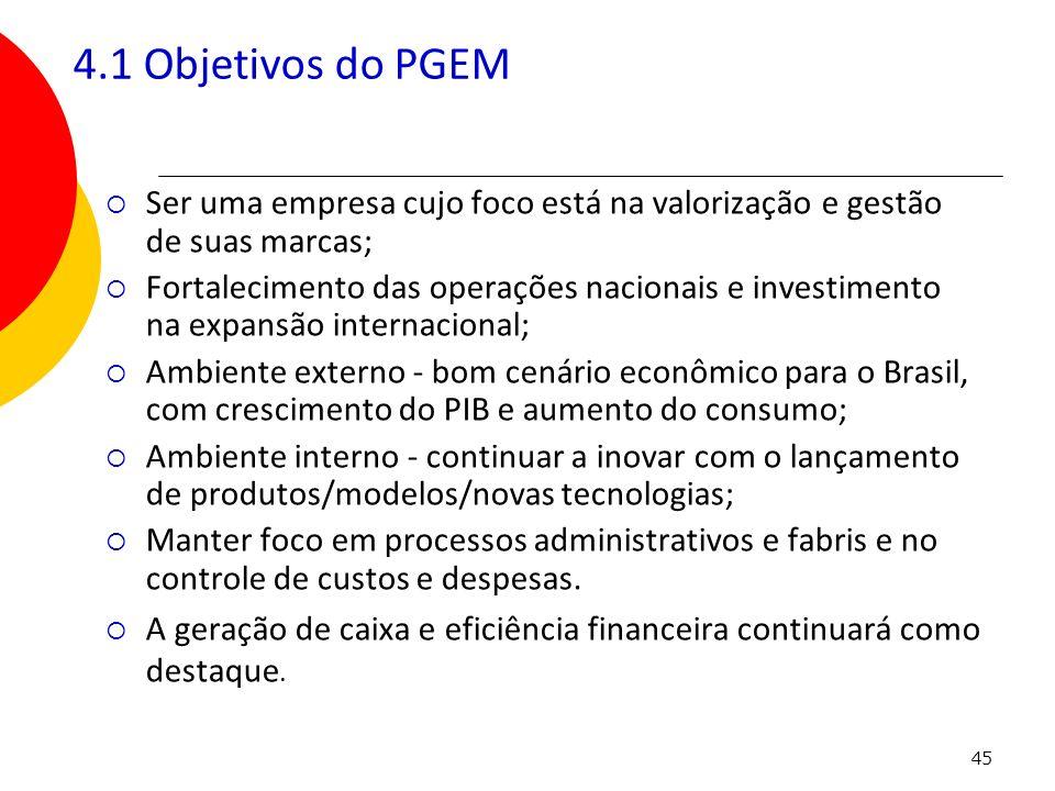 4.1 Objetivos do PGEM Ser uma empresa cujo foco está na valorização e gestão de suas marcas;