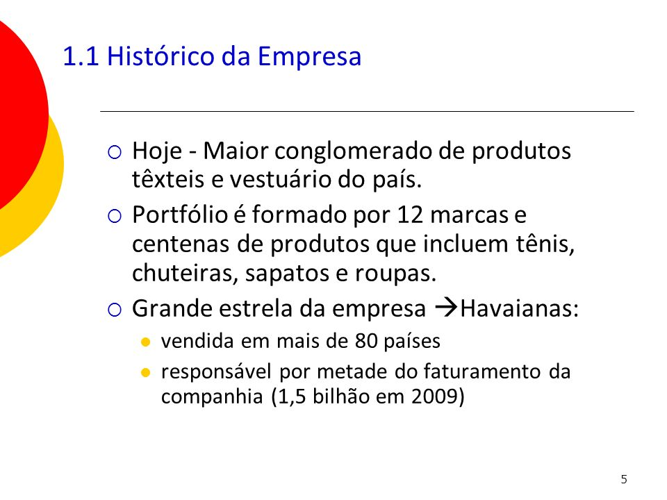 1.1 Histórico da Empresa Hoje - Maior conglomerado de produtos têxteis e vestuário do país.