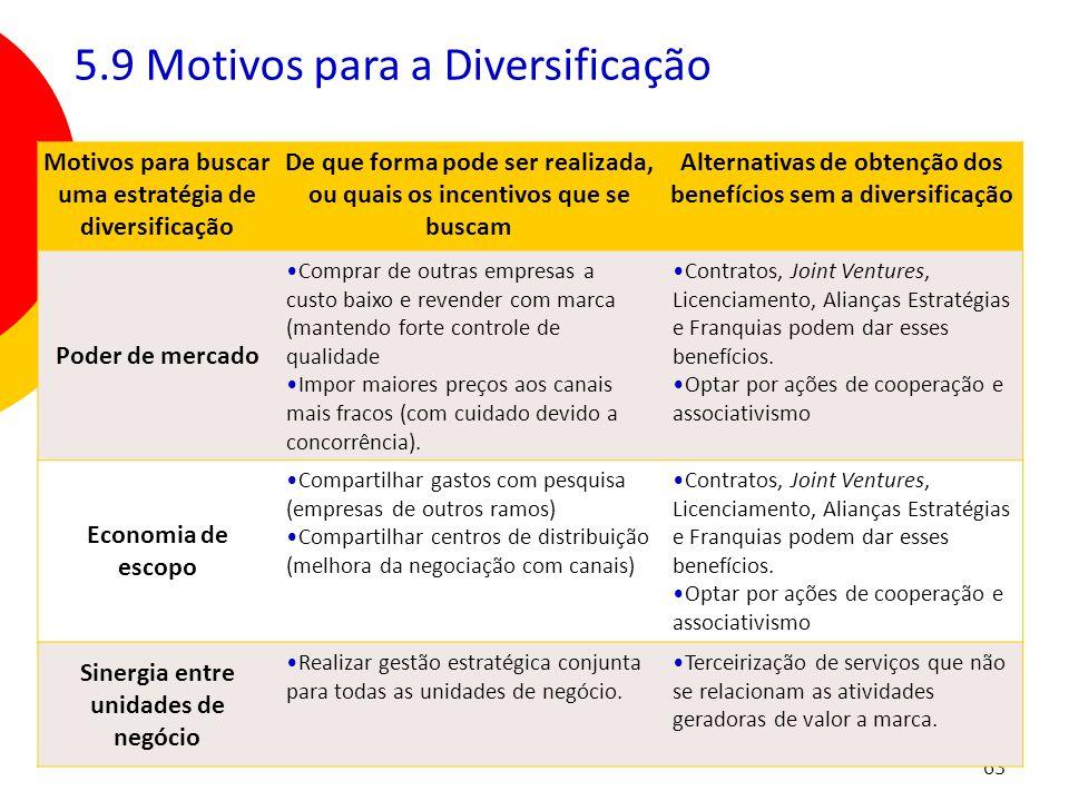 5.9 Motivos para a Diversificação