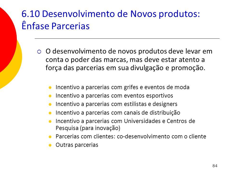 6.10 Desenvolvimento de Novos produtos: Ênfase Parcerias