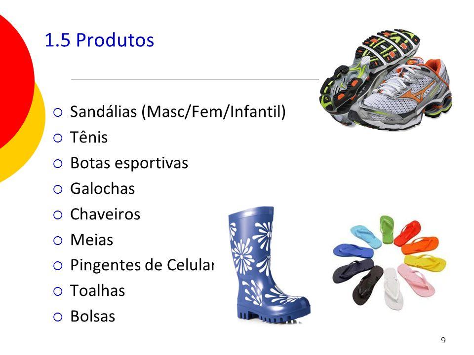 1.5 Produtos Sandálias (Masc/Fem/Infantil) Tênis Botas esportivas