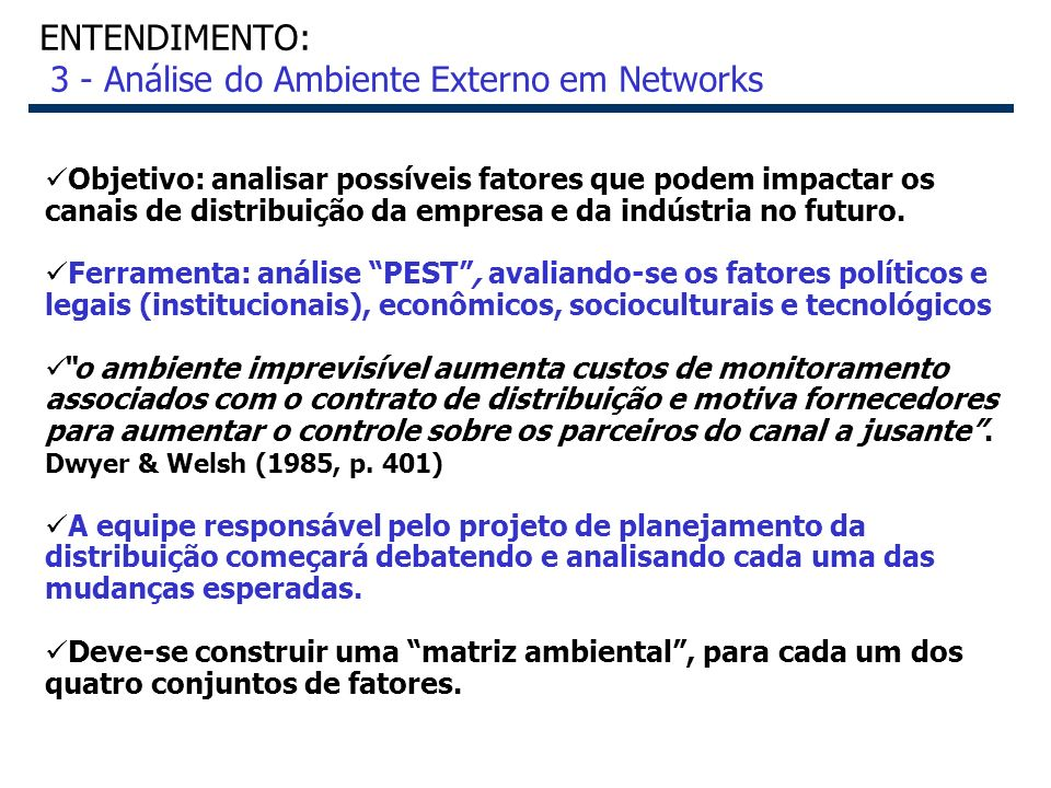 ENTENDIMENTO: 3 - Análise do Ambiente Externo em Networks