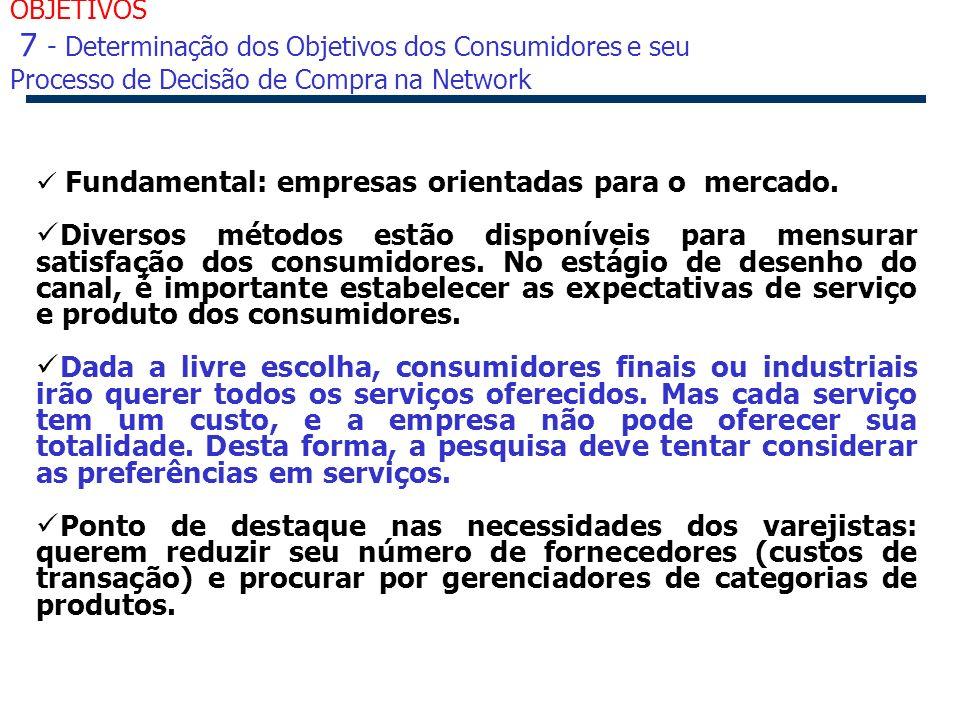 OBJETIVOS 7 - Determinação dos Objetivos dos Consumidores e seu Processo de Decisão de Compra na Network