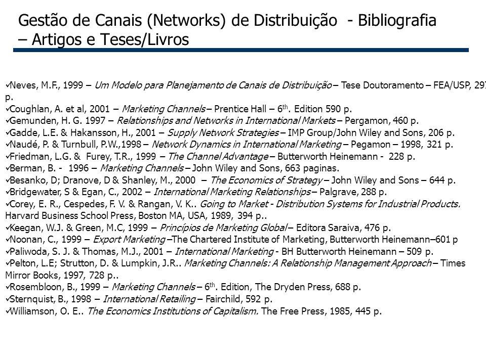 Gestão de Canais (Networks) de Distribuição - Bibliografia – Artigos e Teses/Livros