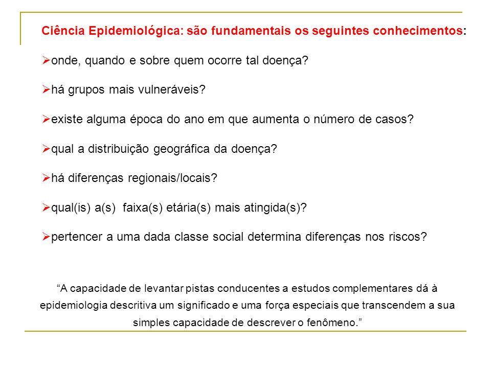 Ciência Epidemiológica: são fundamentais os seguintes conhecimentos: