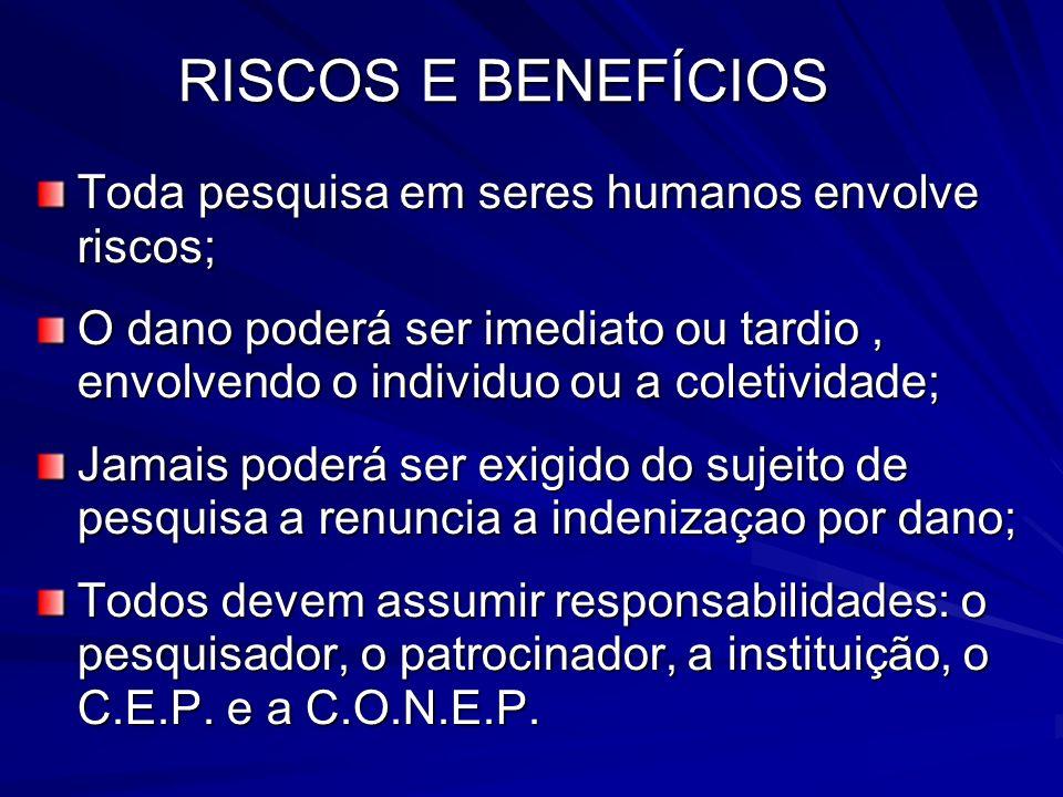 RISCOS E BENEFÍCIOS Toda pesquisa em seres humanos envolve riscos;