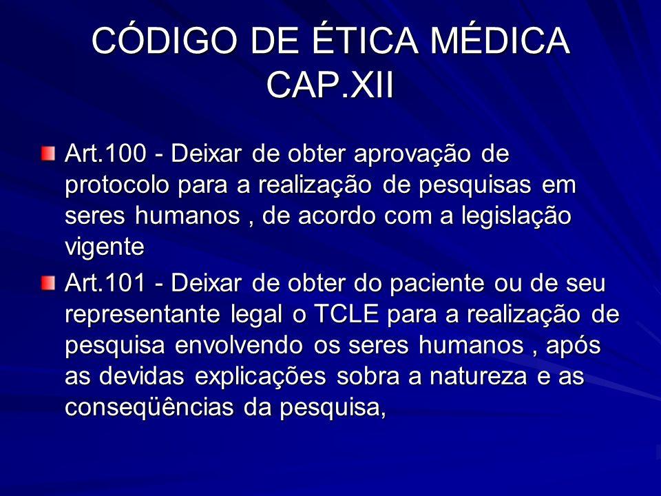 CÓDIGO DE ÉTICA MÉDICA CAP.XII