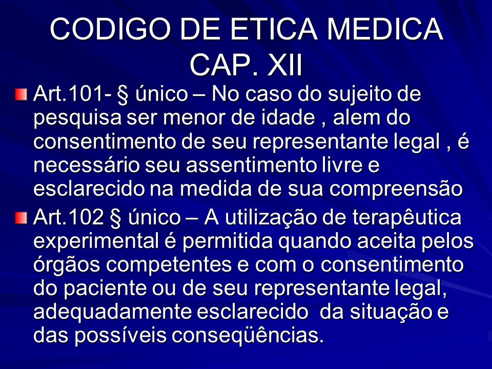 CODIGO DE ETICA MEDICA CAP. XII