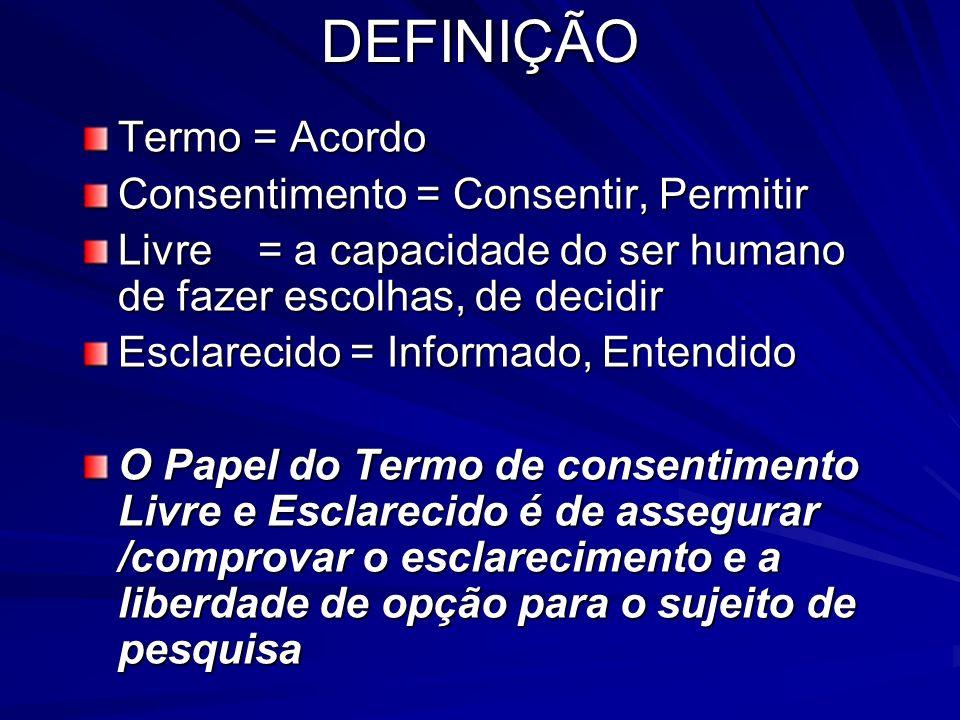 DEFINIÇÃO Termo = Acordo Consentimento = Consentir, Permitir