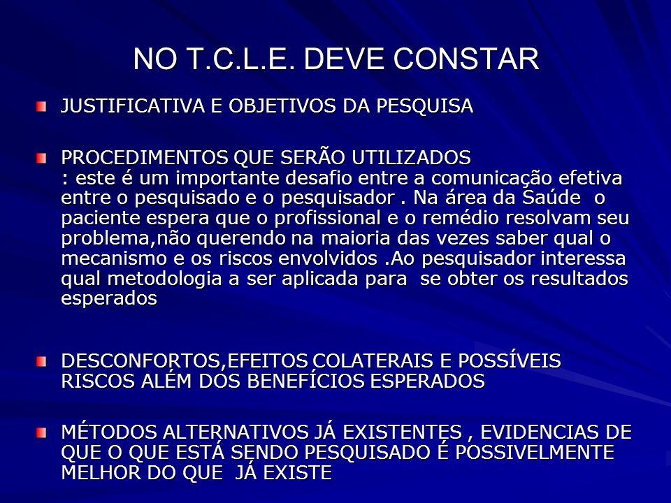 NO T.C.L.E. DEVE CONSTAR JUSTIFICATIVA E OBJETIVOS DA PESQUISA