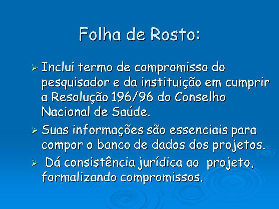 Folha de Rosto: Inclui termo de compromisso do pesquisador e da instituição em cumprir a Resolução 196/96 do Conselho Nacional de Saúde.