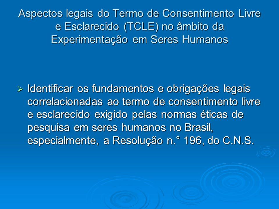 Aspectos legais do Termo de Consentimento Livre e Esclarecido (TCLE) no âmbito da Experimentação em Seres Humanos