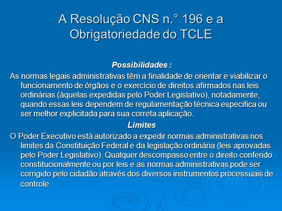 A Resolução CNS n.° 196 e a Obrigatoriedade do TCLE