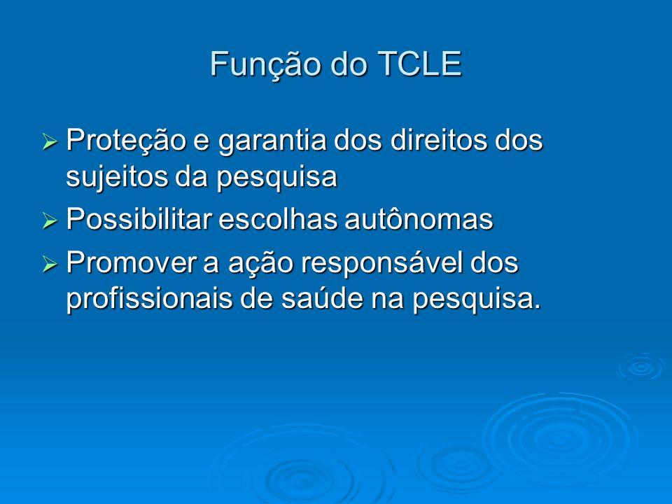 Função do TCLE Proteção e garantia dos direitos dos sujeitos da pesquisa. Possibilitar escolhas autônomas.