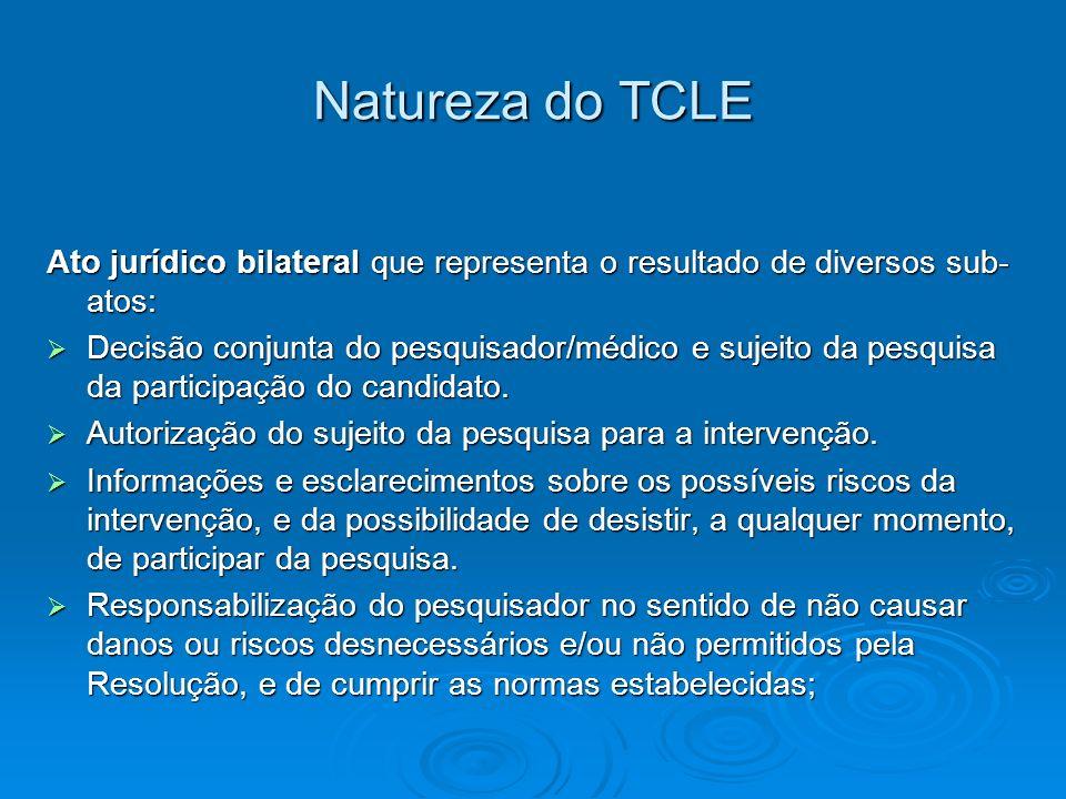 Natureza do TCLE Ato jurídico bilateral que representa o resultado de diversos sub-atos: