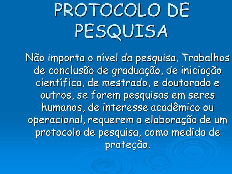 PROTOCOLO DE PESQUISA