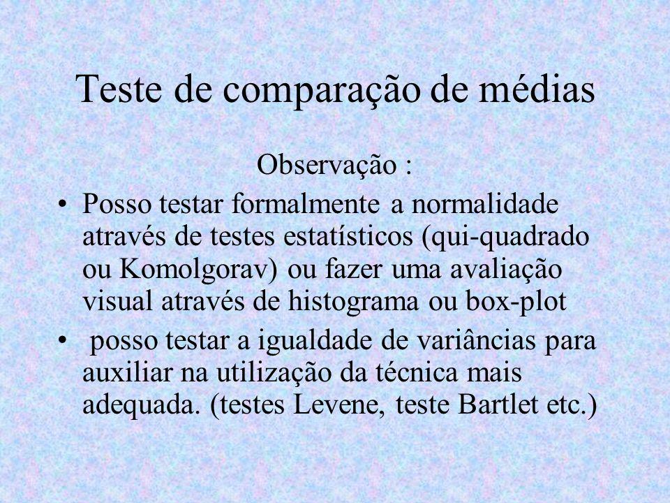 Teste de comparação de médias